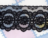 Vintage BLACK LACE, 3 1/4 inches wide, by the yard