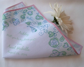 Flower girl handkerchief, flowers bees and birds, mint and pale pink, printed hankerchief, wedding party gift, flowergirl hankie favor