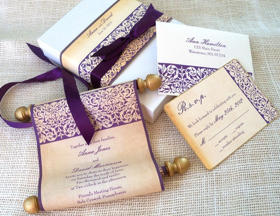 Diy Scroll Wedding Invitations: Elegant Wedding Invitation Suite Fabric Scroll By
