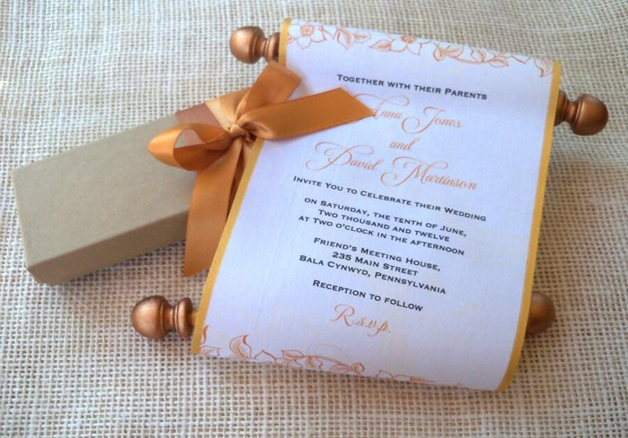 Fabric Wedding Invitations: Copper Wedding Invitation, Scroll Wedding Invitations