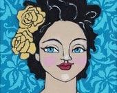 "Original Folk Art Painting ""Flowers in Her Hair"" by Jenny Carter"
