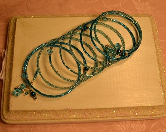 Turquoise Seed and Bugle Bead Memory Wire Bracelet