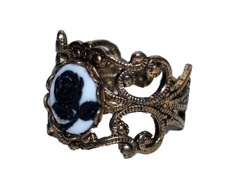 Sale Luxurious Neo Victorian Filigree Finger Ring with Tiny Black and White Rose Cameo Antiqued Gold Brass Finger Band Gothic Dance Ball