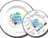 Ready to Ship - Hand Painted Signature Plate - Happy Retirement Design