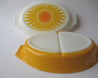 Vintage Pyrex Yellow Orange Daisy Divided Casserole - Cheery