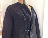 vintage black quilted coat - leather trim - military NOS