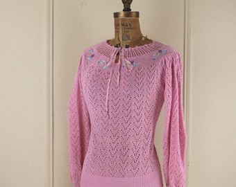 vintage 80s Sweet Pink Sweater - Embroidered Flowers-  Eyelet and Keyhole - size small to medium, s/m