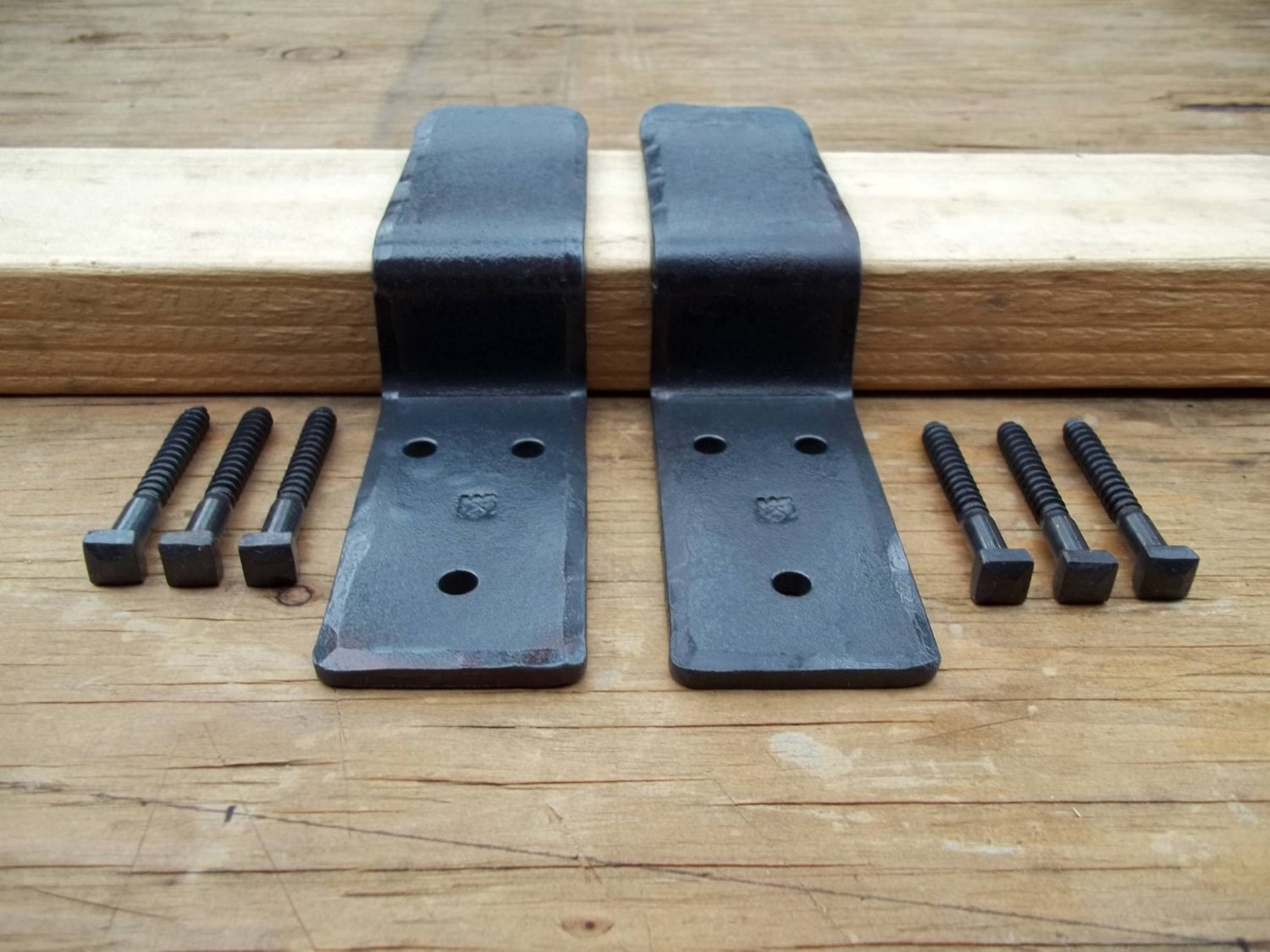 Security Drop Bar Door Brackets Forged Iron Hardware Hand Made