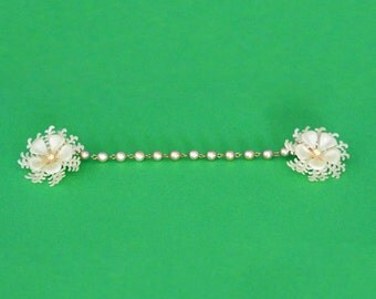 White Flower Sweater Clips with Rhinestones - Vintage Costume Jewelry