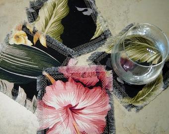 Tropical Coasters,Barkcloth Fabric Coasters, Set of 4 Coasters, Hibiscus Print FabricCoasters,Tropical Party Gift,Housewarming, Beacg House