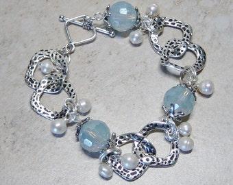 Blue Glass Bead Slver Link Bracelet, Iovry Pearl Bead Bracelet, Cultured Freshwater Pearl Bracelet, Silver Bracelet, Icy Blue Bracelet, Boho