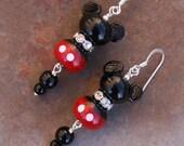 Disneyland California SRA Lampwork Disney Inspired Mickey Minnie Mouse Style DeSIGNeR EaRRiNgs Black N Red