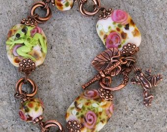 Gorgeous Copper and SRA Lampwork DeSIGNeR Bracelet Claude Monet Style Lily Pond Garden