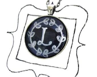 chalkboard letter L, handpainted original artwork, hand painted chalkboard letters necklace