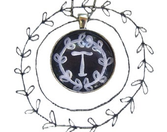 chalkboard letter T, handpainted original artwork, hand painted chalkboard letters necklace