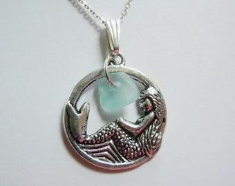 Mermaid Necklace - Sea Glass Necklace,  Aqua Beach Glass Jewelry, Seaglass Jewelry