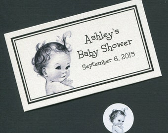 Personalized Baby Shower Favor Topper Labels, Candy Stickers and Plastic Bag Set, baby girl, set of 40