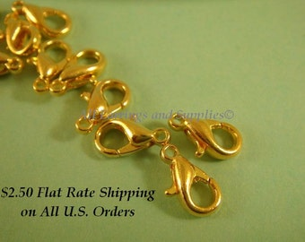 25 Gold Lobster Clasps Gold Plated Alloy 10x6mm - 25 pc - F4007LC-G10-25