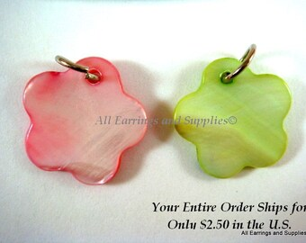 SALE - 8 Mother of Pearl Flower Beads Pink Green 17mm - 8 pc - 5163-AG