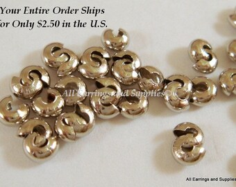 50 Nickel Crimp Bead Cover Nickel Colored Brass 5mm Closed - 50 pc - F4146CC-N50