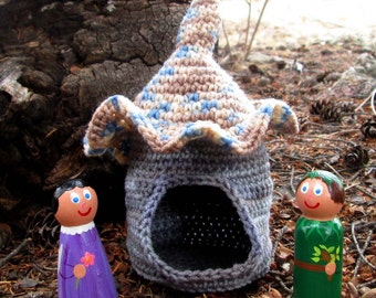 Crocheted Castle with  LARGE Painted Wooden Fairies and Sprites Playset