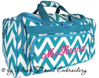Personalized Duffle Bag Chevron Teal Blue White Ballet Dance Travel
