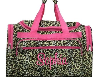 Personalized Duffle Bag Leopard  Dance Bag Luggage Gym Travel Overnight