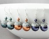THREE Pairs of Acorn Earrings, Set of 3 pairs of earrings, Acorn Jewelry, Winter Wedding, Dangle Earrings, Swarovski Pearl Earrings