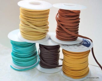 """50 feet 3/16"""" Deer Skin Lace - Your choice of color  Free Shipping USA"""