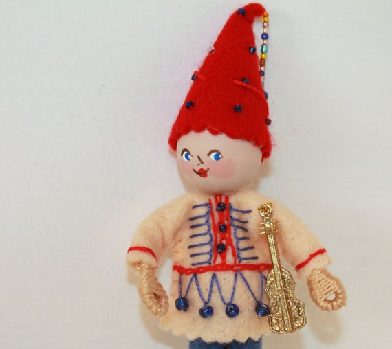 Hanging Ornament Guitar Playing Art Doll