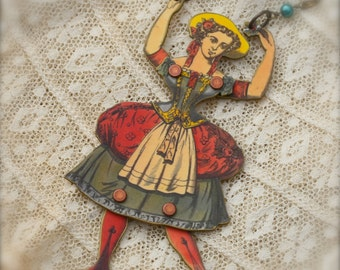 Polina Puppet Girl Necklace - Puppet Necklace - Puppet Jewelry - Doll Jewelry - Paper Doll Necklace - Vintage Paper Doll - Shrink Plastic