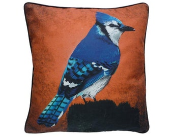 Cushion cover for throw pillow with bird - Blue Jay - 16x16inch // 40x40cm
