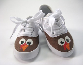 Boy's Turkey Shoes, Thanksgiving Sneakers, Turkey Outfit, 1st Thanksgiving Shoes, Fall or Autumn Sneaker, Hand Painted for Baby and Toddller