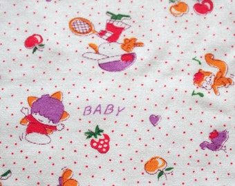vintage 80s novelty juvenile fabric, featuring cute polka dot and kawaii animals design, 1 yard, 10 inches