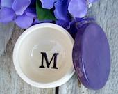 Lidded Monogram Jar, Jewelry Holder, Trinket Holder, Monogrammed, Ring Box, Lidded Ceramic Container, Catchall, Jar, Monogrammed Gift