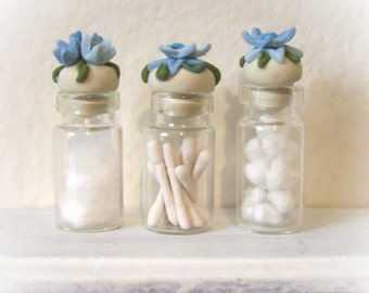 Blue Fancy Floral Miniature Glass Bottles with Delicate Hand Sculpted Flowery Lids Dollhouse Chic Bath Decor 1:12 Scale - Set of 3