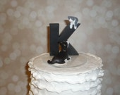 Monogram style cake topper with pets