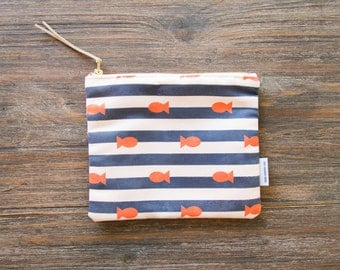 SAMPLE SALE // Strip & Fish - Cosmetic / Makeup pouch - faux suede