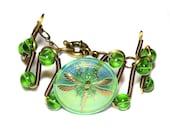 Steampunk Jewelry - Bracelet  - Green Czech Glass DRAGONFLY Button