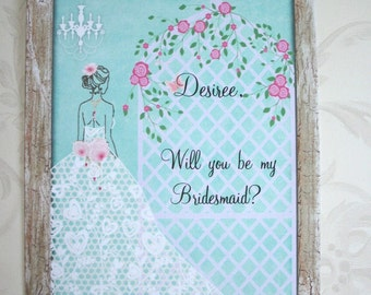 Will You Be My Bridesmaid? - ELEGANT BRIDAL PaRTY - Personalized - A set of 8 notecards and envelopes - WYB 66644