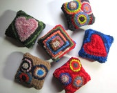 Custom Order for  nancyfriedmanbeck Set of 5 Primitive Hooked Rug PINCUSHIONS from Quilts by Elena