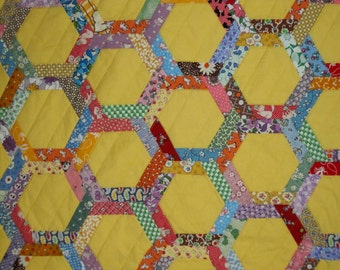 COBBLESTONE PATH a Vintage Quilt from Quilts by Elena Machine and Hand Pieced Blocks with Scalloped Edge