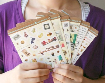 Set of 6 Sheets Cafe Brownie Photo & Calligraphy Stickers (P188)