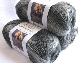 Unforgettable BISTRO yarn, Red Heart Boutique, shades of gray, worsted weight variegated roving yarn