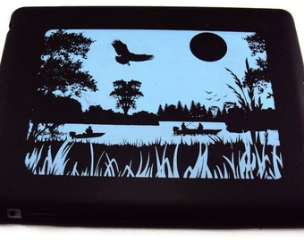 Silicone Ipad 2, 3, or 4  Protective Case Printed Fishing Scene Image