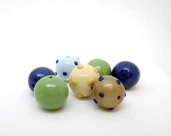 Green and Blue Beads Polymer Clay Beads Polka Dot Beads in  Ivory Gold and light Blue