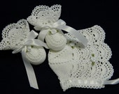 Crochet Soft White Lace Christening Bonnet and Booties, Scallops, Roses, Newborn Baby Girl