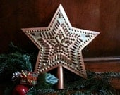 Copper Star Tree Top Rustic 9 Inch Star In Star Design Hand Cut By West Tinworks
