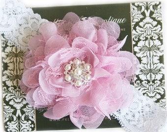 Dusty Pink Baby Headband - Baby Girl Lace Headband -  Headband With Pearls and Lace.... Baby Girl Headband