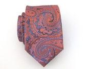 Mens Ties. Necktie Orange and Teal Blue Paisley Mens Tie